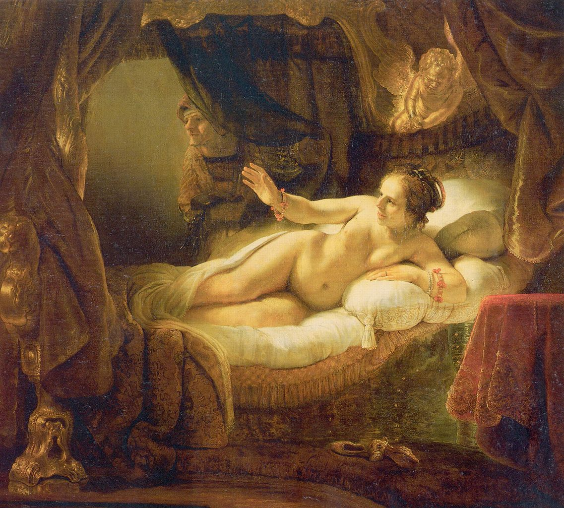 Rembrandt van Rijn. Danaë. 1636-1643. Oil on canvas. 185 x 202.5 cm.