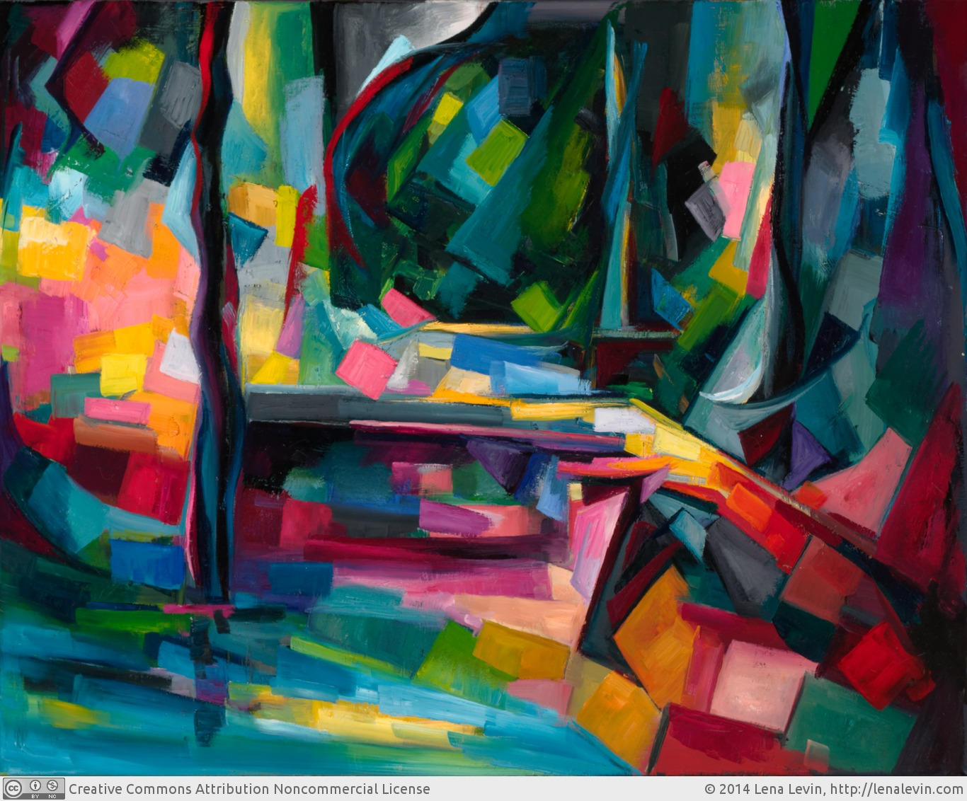 "Lena Levin. Formula of Time (after Cezanne's ""Pont de Maincy""). 2014. 30""x24"". Oil on canvas."