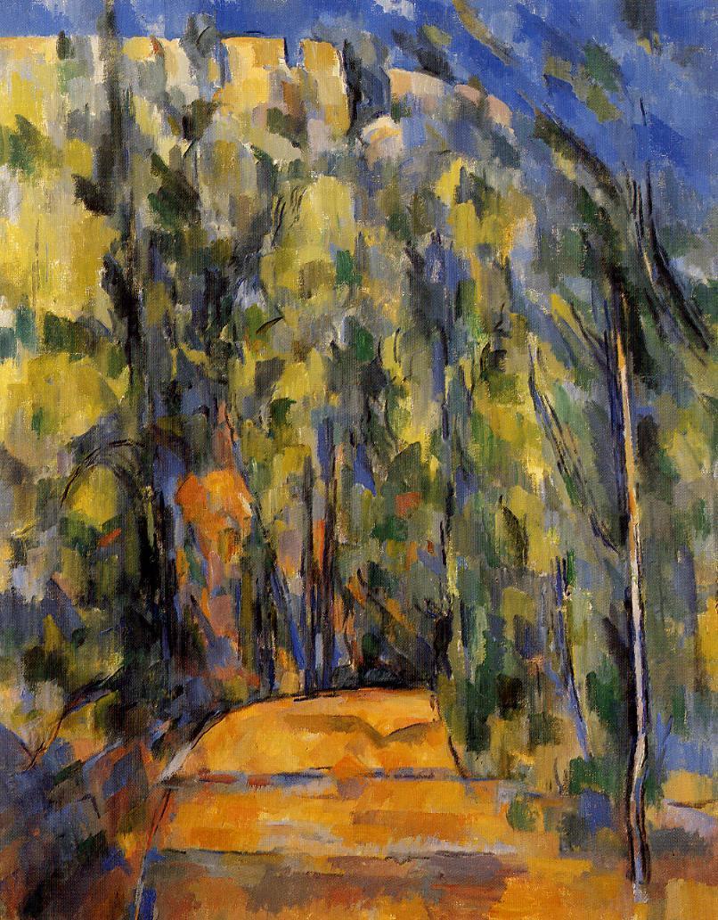 Paul Cezanne. Bend in forest road. 1906