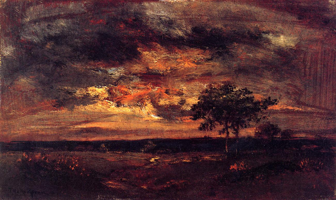 Theodor Rousseau. Twilight landscape. 1850.
