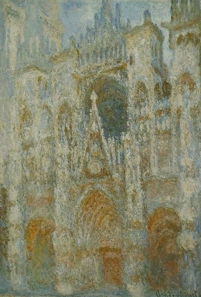 La Cathédrale de Rouen. Le portail, soleil matinal ; harmonie bleue