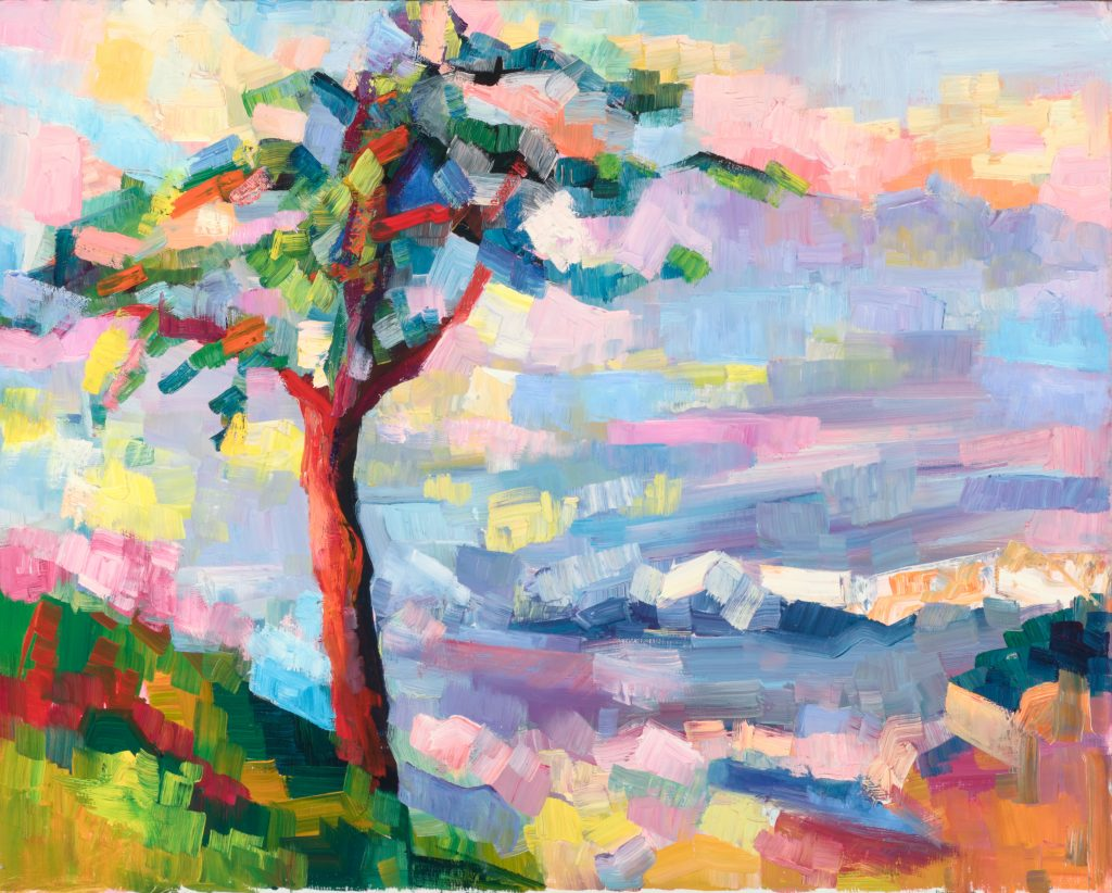 "Elena Maslova-Levin. Tree at the edge (Santa Cruz). 16""x20""."